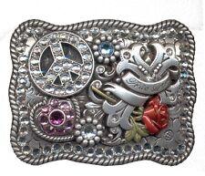 Nocona ~ RHINESTONE COWGIRL Western Belt Buckle ~ PEACE Crystal ROSE Silver 14