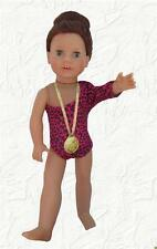 Doll Clothes Gymnastics Leotard PinkLeopard + Medal Fits 18 inch American Doll