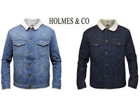 Mens Holmes & Co Sherpa Fur Line Borg Collar Denim Jacket Casual Winter XS
