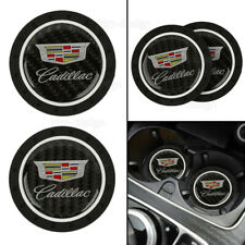 2PCS Silicone Carbon Fiber Car Cup Holder Pad Mat Inserts For Cadillac Anti-Slip