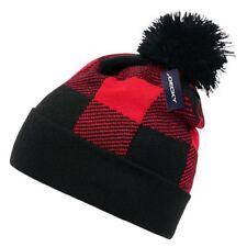 Red Black Plaid Pom Watch Cap Beanie Knit Winter Stocking Hat Snowmobile Decky