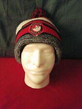 Canada Weather Gear Knit Unisex Striped Red / White / Blue Beanie Hat Pom Pom
