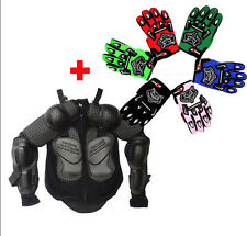Youth Kids Body Armour Gear +Gloves Motorcycle Pit Dirt Bike Racing Ride
