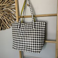 Women's Retro Tote Faux Leather Geometric Print Shoulder Handbag Bag Black White