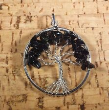 NATURAL BLACK OBSIDIAN TREE OF LIFE  WIRE WRAPPED PENDANT STONE GEMSTONE