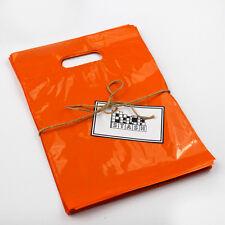 100 16x18 ORANGE Plastic Retail Die-Cut Handle Merchandise Bag - Boutique