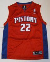 050e1eb6e M Youth Reebok Tayshaun Prince Detroit Pistons Basketball Jersey Red White  EuC
