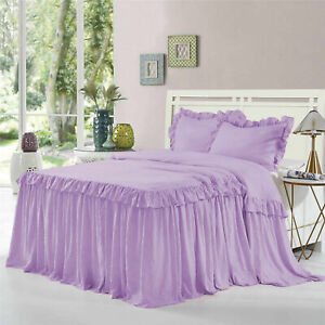 """1 Pc Ruffle Bed Spread/Bed Cover 25"""" drop 400 TC Egyptian Cotton Lavender - FS"""