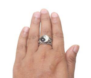 PEACE Tribal Adjustable Ring Pewter Cuff Ying Yang Handmade FairTrade Nepal