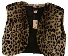 NEW Girls Limited Too Animal Print Faux Fur Open Front Cropped Vest Jacket Sz XL