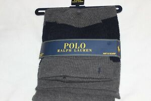 Polo Ralph Lauren Men's Charcoal Acrylic Knit Pony Logo Beanie Hat and Scarf $95