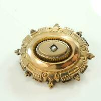 Victorian Antique 10 Carat Gold Target Brooch Pearl set