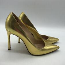 Manolo Blahnik Metallic Gold Pointed Toe Pumps Size 7