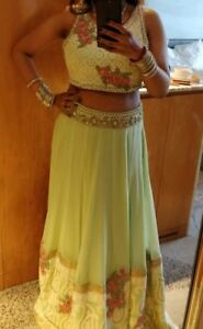 Indian Pakistani Wedding Lengha Dress Floral Green Gold Party Outfit