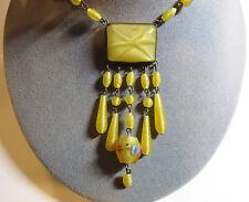 Vintage Deco CZECHOSLOVAKIA Czech Yellow Satin Glass Sautoir Pendant 23 Necklace
