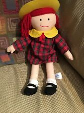 """Madeline Doll Plush 15"""" 2004 Complete Plaid Outfit & Yellow Hat See Tag Details"""