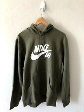 New Men's Nike SB Logo Hooded Sweatshirt (Olive; Large)