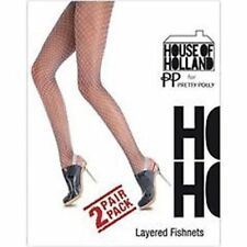 HOUSE OF HOLLAND for Pretty Polly 2 Pair Pack Pantyhose LAYERED Fishnet HOSIERY