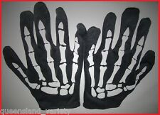 BLACK Skeleton GLOVES Bones Halloween Gothic Spooky Horror Costume Party 1 Size