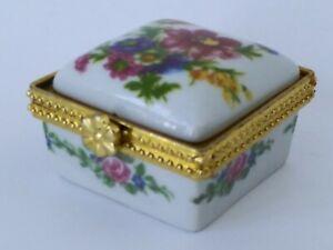 Vintage Hand Painted  Flower White/Gold Tone Porcelain MINI Trinket Box