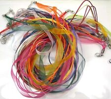 20 - ORGANZA RIBBON / RUBBER 18 Inch NECKLACE  Jewelry Cord Lobster Clasp