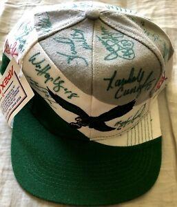 Bart Starr & 1993 Philadelphia Eagles team signed cap hat Randall Cunningham +12