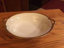 Vtg Noritake Porcelain Oval Serving Bowl Trimmed Gold Pat. No. 61227