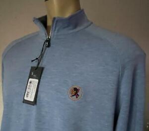 F & G Tech Mens Sky Blue 1/4 Zip Poly Blend Sweater XL NWT $119 Seminole GC