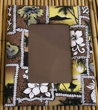 NIP - Tropical  Brown & White Hawaiian Fabric Frame for 3.5 x 5-Inch Photo