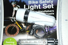 LED BICYCLE SAFETY LIGHT SET HANDLEBAR AND WHEELS WITH MOUNTING CLIPS