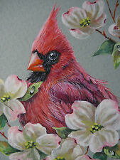 Cardinal Male bird wildlife Dogwood flower Spring print