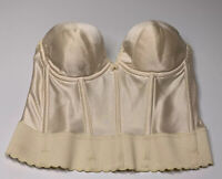 Vintage Womens Bra Longline Strapless Nylon Back Closure Beige Size 32D