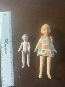 Lot 2 Antique Vintage Ceramic?? Bisque?? Dolls, small size