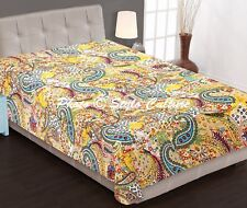 Indian Bedding Quilt Blanket Twin Cotton Printed Bed Cover Paisley Kantha Quilts