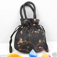 Cute Handmade Black Embroidered Flower Silk Satin Purse Jewelry Gift Handbag Bag