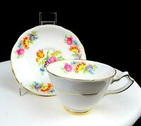 """GLADSTONE CHINA ENGLAND #5716 FLORAL SPRAYS SCALLOPED GOLD RIM 2"""" CUP & SAUCER"""