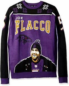 KLEW NFL Men's Baltimore Ravens Joe Flacco #5 Ugly Sweater