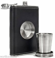 Hip Flask & Collapsible Shot Glass Cup Mug Whiskey Alcohol Pocket Vodka spirits