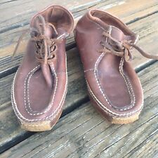 RARE Vintage Ralph Lauren Distressed Brown Leather Moccasin Boots Womens 8 Shoes
