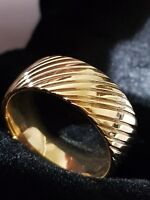 9CT YELLOW GOLD Gf WEDDING BAND UNISEX RING 10 MM RING SIZE 6-12
