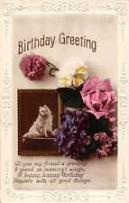 Embossed Birthday Greetings! Happy Good Things, Flowers Rose Dog, real photo