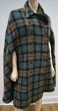 PAUL SMITH BLUE Green Blue Yellow Wool Mohair Blend Tartan Check Cape Coat 40 U8