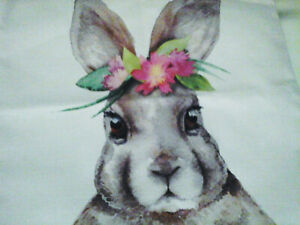 sweet bunny rabbit wearing pink flowers decorative throw pillow cover 17X17