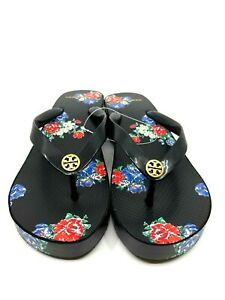 "Tory Burch NEW Black Tea Rose Cut Out 1"" Wedge Flip Flop Logo US 8 $78 Authentic"