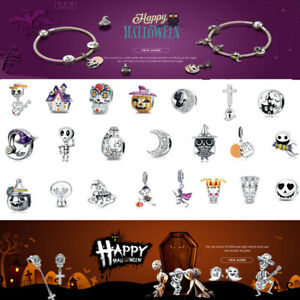 Women S925 Sterling Silver Halloween Beads Charms Fit Bracelet & Necklace VOROCO