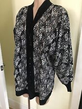 Youngtim Womens L Open Lacy Beaded Cardigan Jacket
