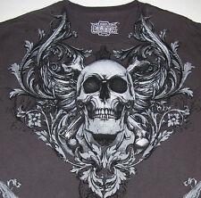 MMA Elite Charcoal Skull T-Shirt Mixed Martial Arts Eagles Medium 100% Cotton