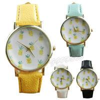 Womens Watches Pineapple Pattern Leather Band Analog Quartz Vogue Wrist Watch UK