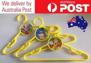 WINNIE THE POOH THEMED COAT HANGERS FOR CHILDREN - YELLOW SET OF 3 -FREE POSTAGE
