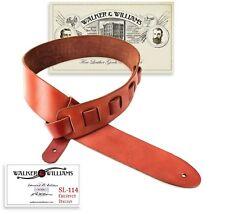Walker & Williams SL-114 Chestnut Full Grain Soft Italian Leather Guitar Strap